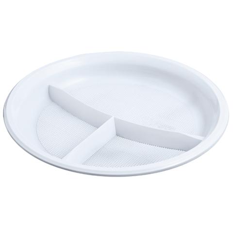 Одноразовые тарелки Тарелка 3-х секционная (D=205 мм) /100/, шт