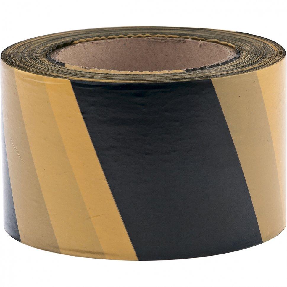 Специальные ленты Лента сигнальная, черно-желтая 48мм*150м, шт